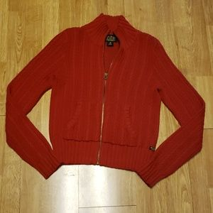 Vintage Polo Jeans red cable knit zip up cardigan